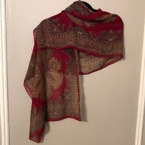 Sheer Paisley Red Scarf